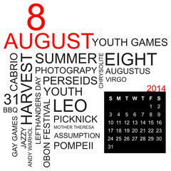 word cloud and calendar august 2014