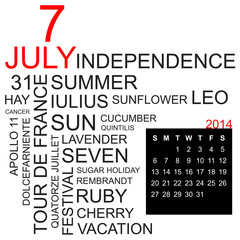 word cloud and calendar july 2014