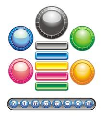 Circular and rectangular buttons