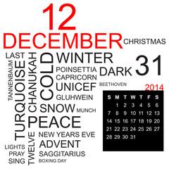 word cloud and calendar december 2014