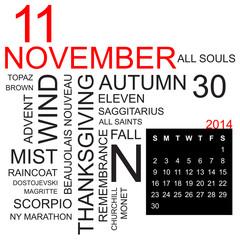 word cloud and calendar november 2014
