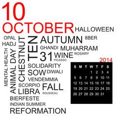 word cloud and calendar october 2014