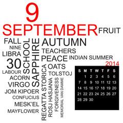word cloud and calendar september 2014