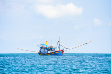 Fishing boat, morning on the sea, Nam Du islands, Kien Giang, Vi
