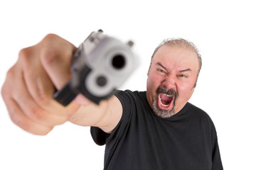 Man with The Gun Screams with his Angry Eyes