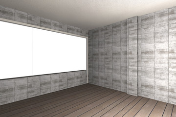 Bare concrete wall and wood floor