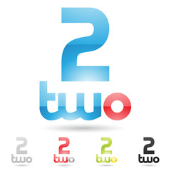 colorful and abstract icons for number 2, set 3