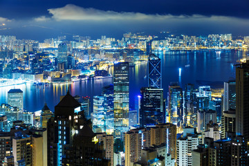 Hong Kong city at mid night