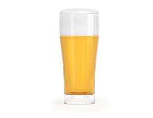 Glas Bier voll mit Schaum