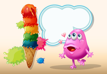 A monster watching the giant icecream