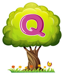 A tree with a letter Q