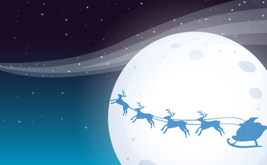 Santa travelling with his reindeers