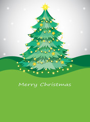 A green christmas tree with sparkling series lights