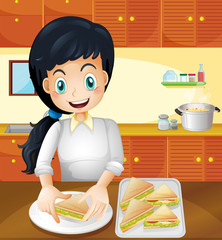 A happy mother preparing snacks in the kitchen