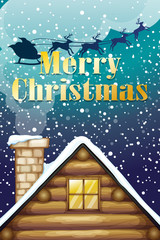 A christmas card with a wooden rooftop and a sleigh with reindee
