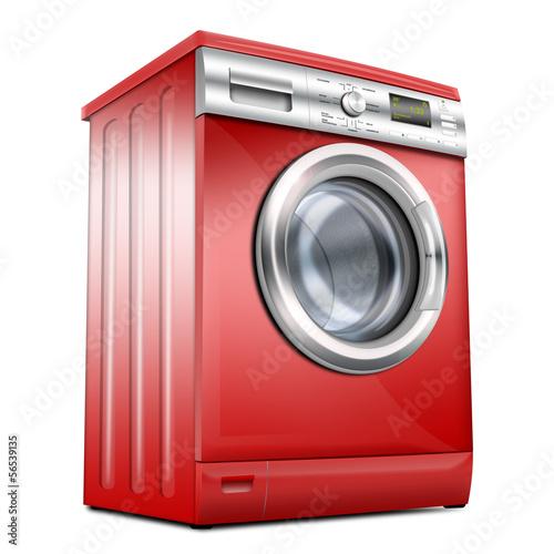waschmaschine waschvollautomat rot silber stockfotos. Black Bedroom Furniture Sets. Home Design Ideas