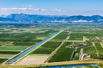Fertile valley with crop fields