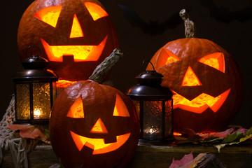 Fototapete - halloween pumhkins