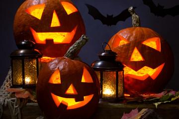 Fototapete - halloween pumhkins and bats