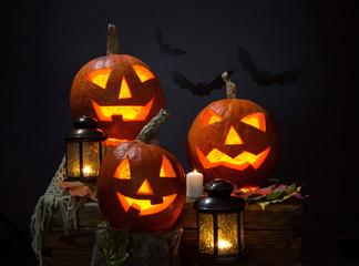 Fototapete - pumpkins and vampire - bat