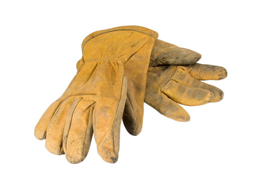 Dirty leather work gloves