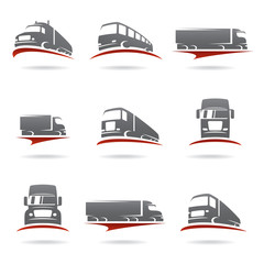 Trucks set. Vector