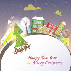 Happy New Year greeting card - snowy street.