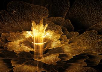 Wall Mural - Golden futuristic flower