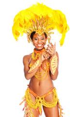 brazilian samba dancer with cellphone