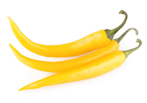 yellow chili peppers isolated on white background