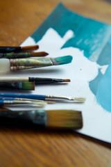 pędzel farba malarstwo niebieski błękit artysta sztuka obraz