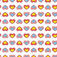 Fun hearts seamless wallpaper background - Illustration
