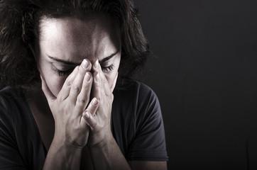depressed woman facial close up