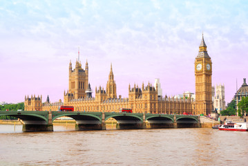 Houses of Parliament and Big Ben Tower with Westminster Bridge