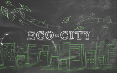 Eco-city green tourism text blackboard