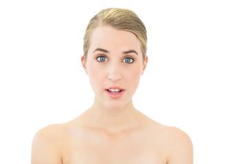 Surprised beautiful blonde posing