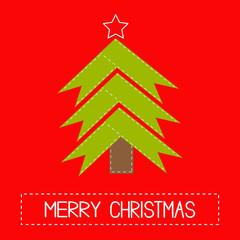 Christmas tree made of ribbons. Card