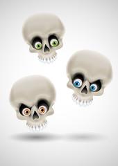 Three funny skulls with eyes