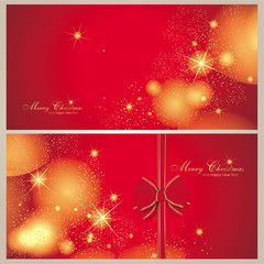 Set aus 2 Weihnachtskarten in rot