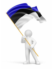 Man and Estonian flag (clipping path included)