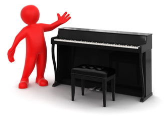 Man and Piano (clipping path included)