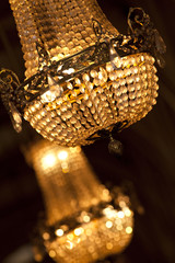 Lustre, luminaire, lumière, cristal, pampilles, verre, luxe