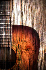 Acoustic guitar art on wooden background - fototapety na wymiar