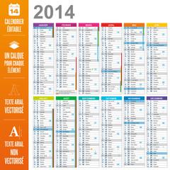 Calendrier 2014 éditable - calques / textes