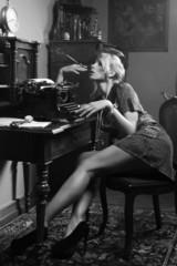 Sexy woman smoking a cigarette