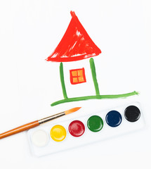 Children's drawing water color paints the house