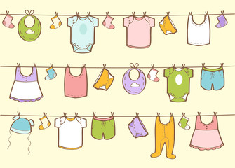 Cute hand drawn baby clothes, vector illustration