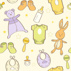Cute hand drawn baby background, seamless pattern