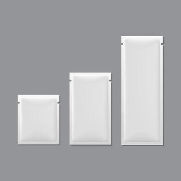Vector Set of White Blank Sachet Packaging