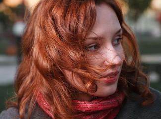 redhead closeup portrait , autumn outdoor